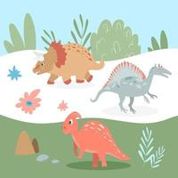 Set of cute carnivorous and herbivorous dinosaurs on the background vector