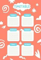 Kids school timetable template for the week vector