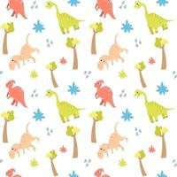 Seamless pattern with cute dinosaurs and trees on a white background. vector