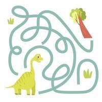 Cute cartoon dinosaur maze game. Labyrinth. vector