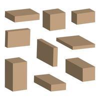 Vector illustration. realistic 3D cardboard box. mockup for desi