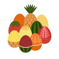 vector illustration. egg. happy Easter. watermelon, orange, melo