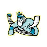 Poseidón jugador de hockey sobre hielo mascota retro vector