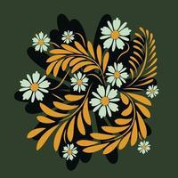 Folk flowers floral art print Flowers abstract art vector