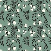 Folk flowers pattern Floral surface design vector