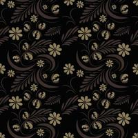 Folk flowers art pattern Floral abstract surface design  Seamless vector