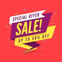 Plantilla de banner de venta de oferta especial en estilo plano. vector