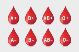 Blood type set on white background. vector