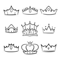 Doodle crown princess collection. Simple crowning. vector