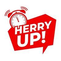 Date prisa con el símbolo del reloj de alarma, ofertas de promoción. vector