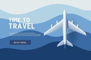 avión volando sobre el océano. tiempo para viajar. vector