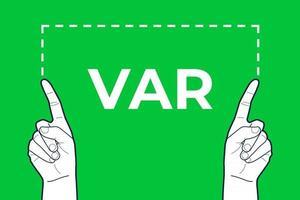 VAR referee hands sign. vector