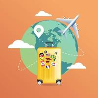 Plane flying around the world with yellow luggage. Travel planning. vector