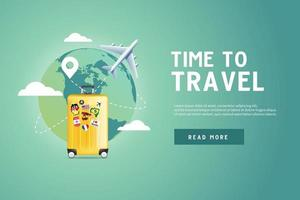 Plane flying around the world with yellow luggage. vector