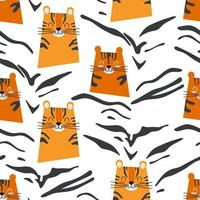 Seamless pattern with cute orange tigers and black striped print vector