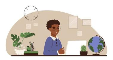 African American schoolboy sits desk and study on a laptop and books vector