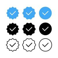 Set of Check, Tick Flat Vector Icons