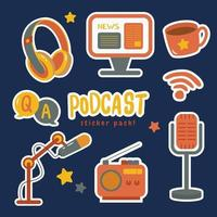 Podcast Cute Sticker Pack vector