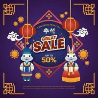 Chuseok Festival Sale Poster vector