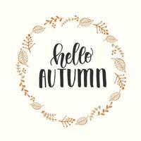 Autumn lettering calligraphy phrase - Hello Autumn. Invitation Card vector