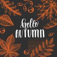 Autumn lettering calligraphy phrase - I love fall. Invitation Card vector