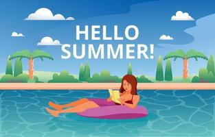 Women Ejoying Reading Book on Swimming Pool vector