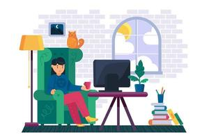 Girl watching television channel at home vector