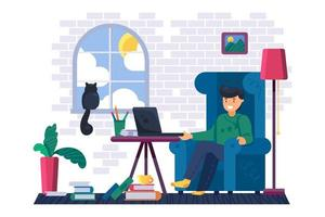 Man freelancer working on laptop at home vector