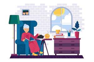 Grandma reading interesting book at home vector