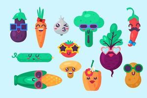 Organic food emoji emotion collection set vector