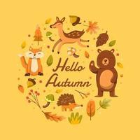 Autumn Flora and Fauna Concept vector