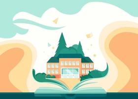 Banner template with book and school building. vector