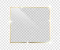 marco brillante brillante de lujo dorado con sombras aisladas en transparente vector