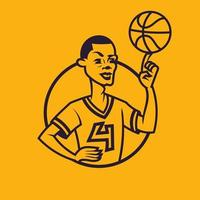 Basketball player spinning ball on his finger in monochrome style. vector