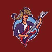 Rocker playing guitar. Concept art of rock'n'roll in cartoon style. vector