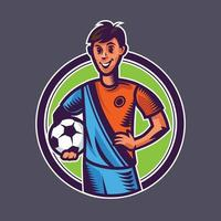 Soccer player holding ball. Concept art of football in cartoon style. vector