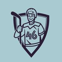 Hockey player holding stick. Sport concept art in monochrome style. vector
