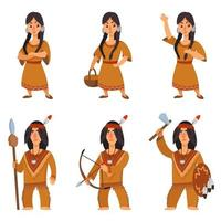 Set of native americans in different poses. vector
