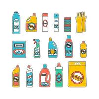 Household supplies and cleaning flat icons set vector