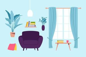Interior of the living room. vector