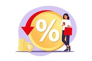 Rebate program, consumer benefit, selling discount concept. vector