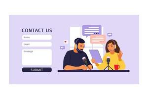 Contact us form template for web. People recording podcast in studio vector