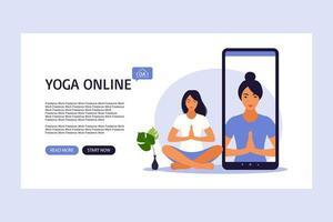 Online yoga concept landing page. vector