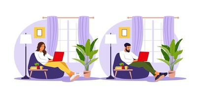 Man and woman sitting with laptop on bean bag chair. vector