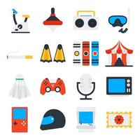 Pack of Leisure Activity Flat Icons vector