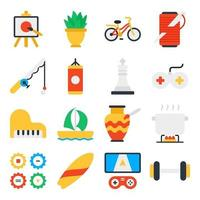 Pack of Hobbies Flat Icons vector