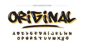 black and yellow brush graffiti typography vector