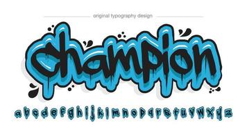 Blue and black dripping graffiti typography vector