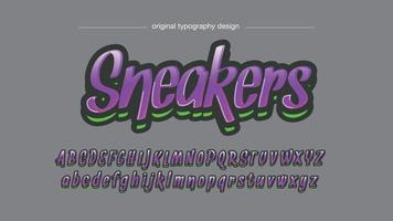 purple and green modern cursive typography vector