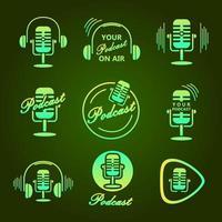 Green Podcast Sticker vector